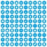 100 icone di acquisto di alimento messe blu Fotografie Stock