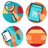 Icone di acquisto di Internet di vettore nello stile piano Fotografia Stock Libera da Diritti
