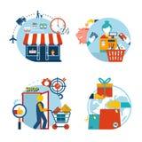 Icone di acquisto di un acquisto e di una consegna del deposito royalty illustrazione gratis