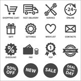 Icone di acquisto impostate Fotografia Stock Libera da Diritti