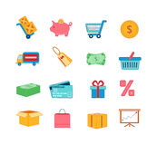 Icone di acquisto impostate Linea sottile illustrazione di vettore delle icone Immagazzini l'attrezzatura Illustrazione Vettoriale