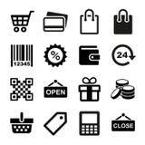 Icone di acquisto messe Fotografia Stock