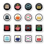Icone di acquisto messe - conto, risparmi, 24h, sacchetto della spesa Fotografia Stock