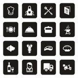 Icone di affari di approvvigionamento bianche sul nero illustrazione di stock