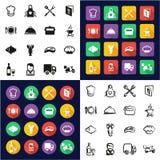 Icone di affari di approvvigionamento interamente in un insieme a mano libera di progettazione piana bianca e nera di colore dell illustrazione vettoriale