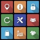 Icone di affari con il volume lungo 2 dell'ombra Fotografie Stock Libere da Diritti