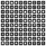 100 icone di affari dell'IT messe nere illustrazione vettoriale