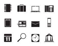 Icone di affari, dell'ufficio e del telefono cellulare della siluetta Fotografie Stock Libere da Diritti