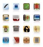 Icone di affari, dell'ufficio e del telefono mobile Fotografie Stock Libere da Diritti