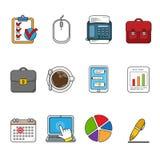 Icone di affari di vettore impostate Raccolta dell'icona descritta colore illustrazione di stock