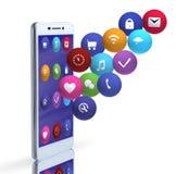 Icone di affari e del telefono su fondo bianco fotografia stock