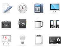 Icone di affari e dell'ufficio Fotografia Stock