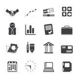 Icone di affari e dell'ufficio della siluetta Immagini Stock Libere da Diritti
