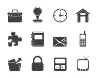 Icone di affari e dell'ufficio della siluetta Fotografia Stock