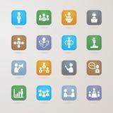 Icone di affari e della gestione messe Fotografie Stock