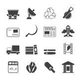 Icone di affari e di industria della siluetta Immagini Stock Libere da Diritti