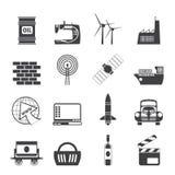 Icone di affari e di industria della siluetta Fotografia Stock