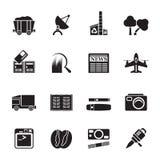 Icone di affari e di industria della siluetta Immagine Stock