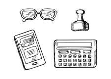 Icone di affari e schizzi di simboli Immagine Stock