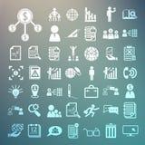 Icone di affari ed icone di finanza messe 2 sul fondo della retina Fotografia Stock