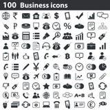 100 icone di affari messe Fotografie Stock Libere da Diritti