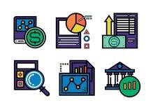 6 icone di affari per progettazione infographic illustrazione vettoriale