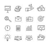 Icone di affari - produttività, gestione, linee stile sottili Immagini Stock