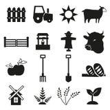 Icone di agricoltura e dell'azienda agricola messe Fotografie Stock Libere da Diritti