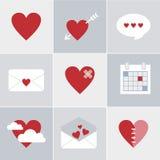 Icone di amore della posta Fotografie Stock Libere da Diritti