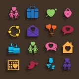 Icone di amore messe nello stile piano. Immagini Stock