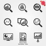Icone di analisi dei dati Fotografia Stock