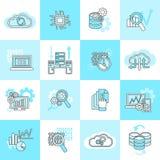 Icone di analisi dei dati della base di dati piane Fotografie Stock