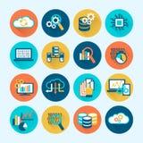 Icone di analisi dei dati della base di dati piane Immagine Stock