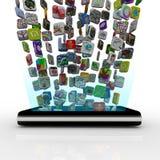 Icone di App che trasferiscono nel telefono astuto Fotografia Stock