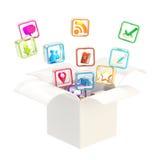 Icone di applicazione informatica all'interno della casella illustrazione di stock