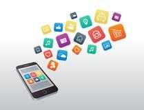 Icone di Apps che galleggiano dallo smartphone Immagine Stock