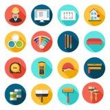 Icone di architettura, di interior design e di vettore di riparazioni messe royalty illustrazione gratis