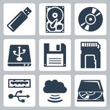 Icone di archiviazione di dati di vettore messe Immagine Stock