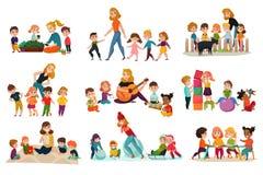 Icone di asilo messe royalty illustrazione gratis