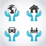 Icone di assicurazione Immagine Stock Libera da Diritti