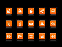 Icone di assicurazione arancioni Fotografia Stock Libera da Diritti