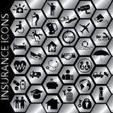 Icone di assicurazione dell'oro Fotografie Stock Libere da Diritti