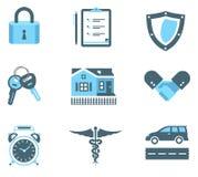 Icone di assicurazione della stretta di mano Fotografia Stock Libera da Diritti