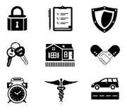 Icone di assicurazione della stretta di mano Immagine Stock