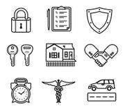Icone di assicurazione della stretta di mano Fotografia Stock