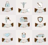 Icone di assicurazione della stretta di mano Immagine Stock Libera da Diritti