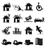 Icone di assicurazione impostate Fotografie Stock Libere da Diritti