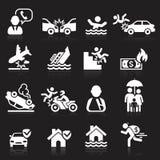 Icone di assicurazione impostate Immagini Stock Libere da Diritti