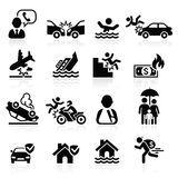 Icone di assicurazione impostate Immagine Stock Libera da Diritti