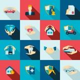 Icone di assicurazione piane Fotografia Stock